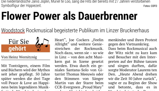 "REVIEW: ""Woodstock Rockmusical begeisterte Publikum im Linzer Brucknerhaus"" – Oberöstereichisches Volksblatt"